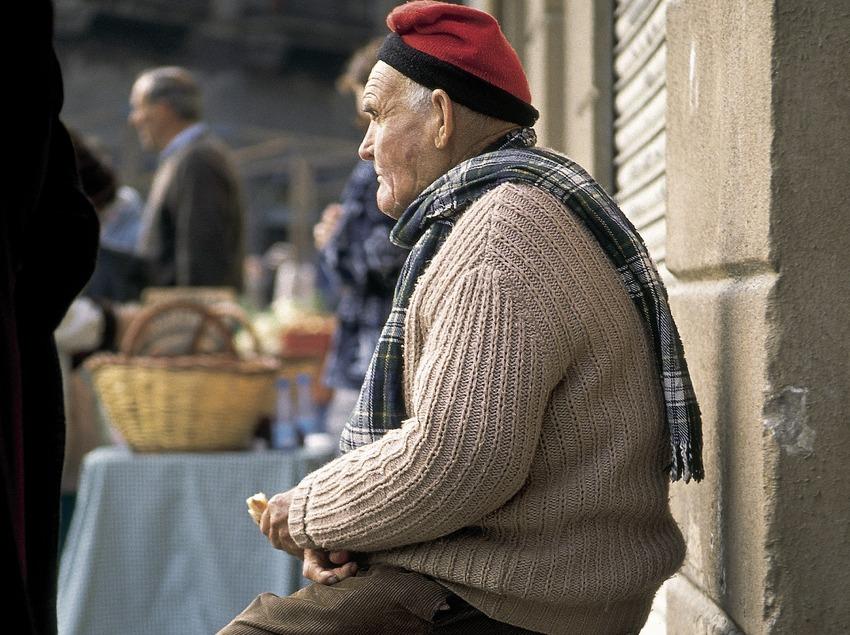 Pagès en el mercat de Ripoll.