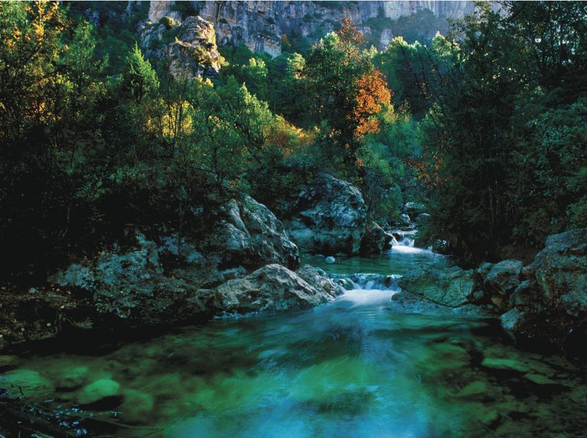 Barranco de la Llodriga, nacimiento del río Brugent     (P. Ccal. de Turisme Muntanyes de la Costa Daurada)