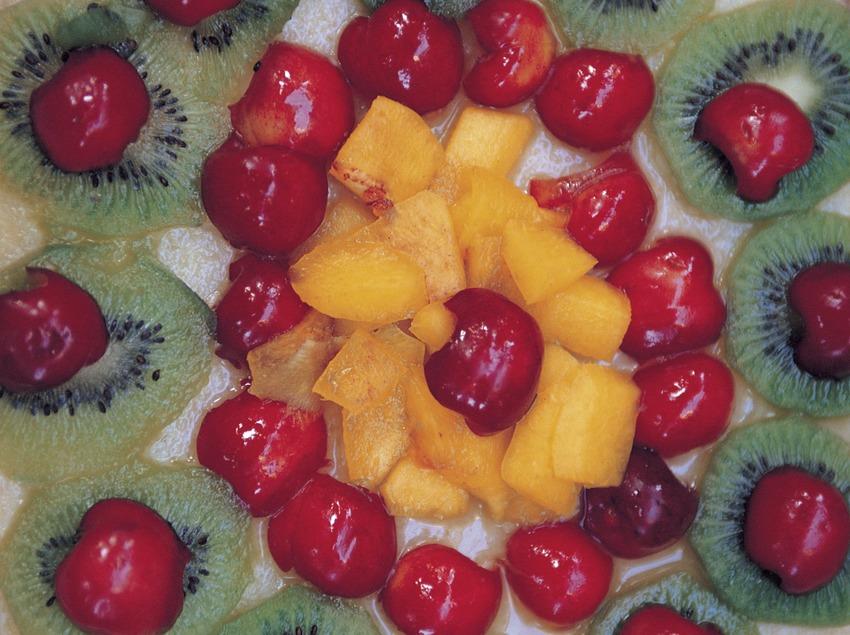 Pizza de fruites amb cirera. Fira de la Cirera d'Arenys de Munt.   (Rosina Ramírez i Pere Pascual)