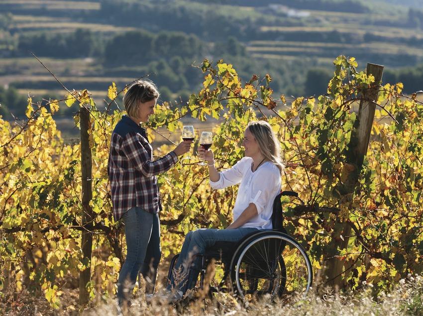Vino y accesibilidad. Chica en silla de ruedas y acompañante brindando con vino entre viñas.