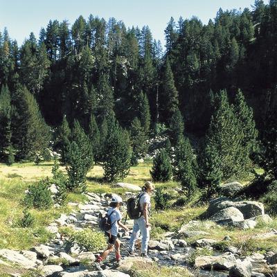 Excursionistes prop de l'estany de Colomers, al Parc Nacional d'Aigüestortes i Estany de Sant Maurici.