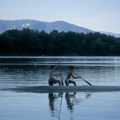 Rowing contest on Banyoles lake