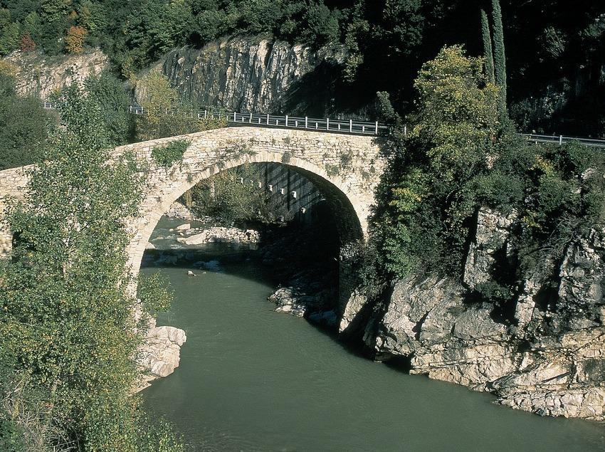 Puente medieval sobre el río Llobregat.  (Servicios Editorials Georama)