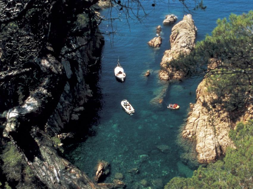 Embarcacions en una cala prop de s'Agaró.   (Xavier Miserachs)
