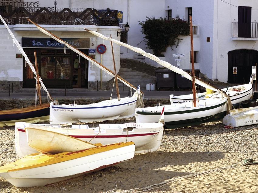 Boote am Strand von Es Poal.