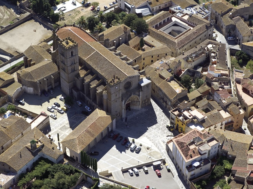 Aerial view of the cathedral in Castelló d'Empúries