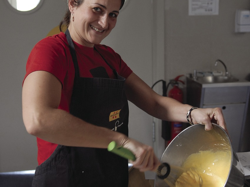 Gema Monroy, from Traveller magazine, preparing crema catalana during a cookery class in the Empordà Gastronomic Classroom