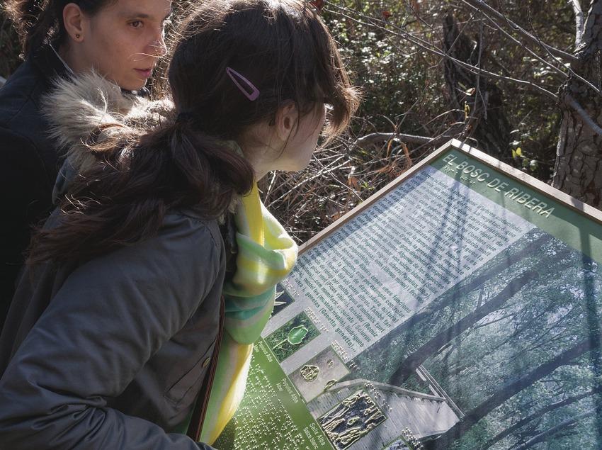 Invidents llegint un panell adaptat. Reserva Natural de Fauna Salvatge de Sebes i Meandre de Flix.