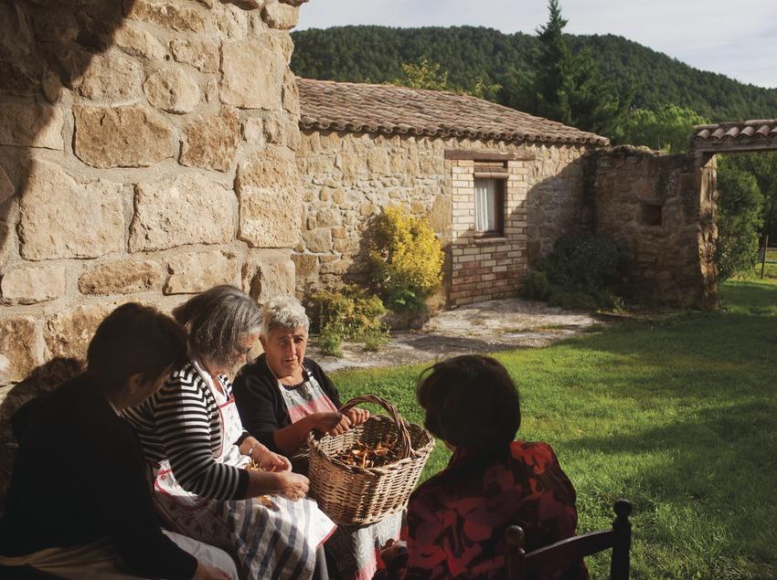 Ëvies triant camagrocs mentres conversen, una tarda a una masia de Lladurs. Solsons. © Oriol Clavera