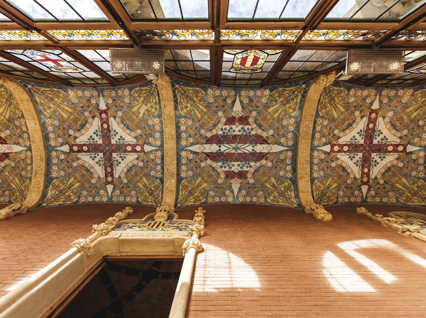 Detall de la creu del sostre de l'hospital de la Santa Creu i Sant Pau. (Pepe Encinas)