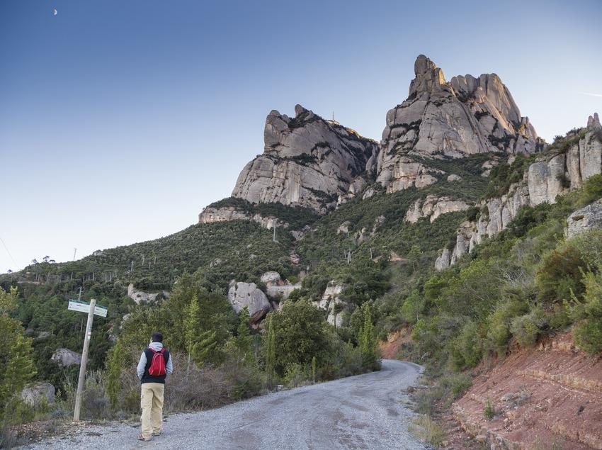 Camí de Sant Jaume amb la muntanya Montserrat al fons. (Nuria Puentes)