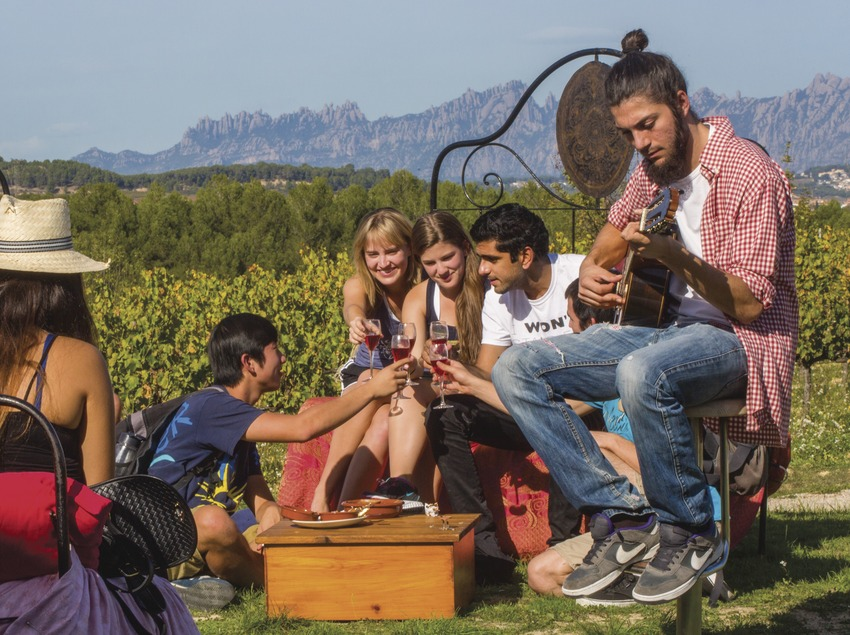 Concierto en las viñas, al fondo las montañas de Monserrat. (Consuelo Bautista)