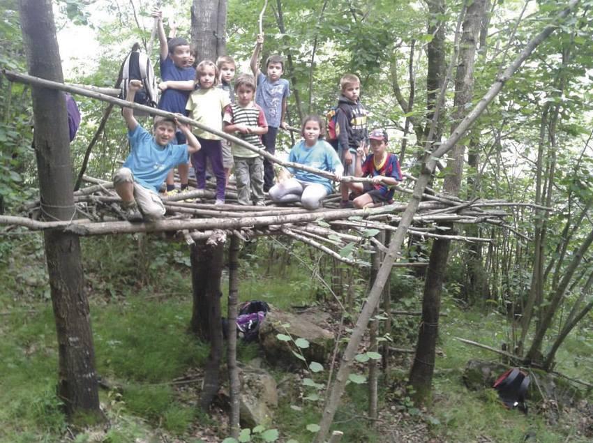 Grup de nens gaudint d'una activitat d'aventura enmig de la natura