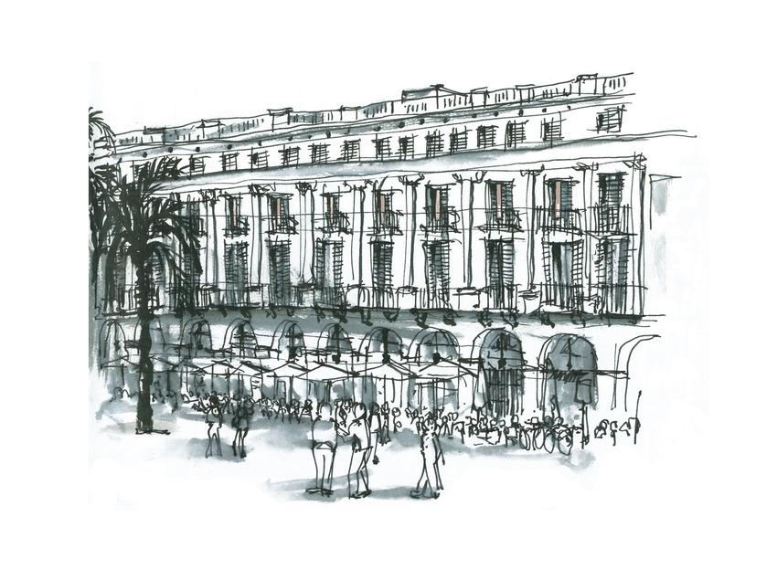 Dibujo de la plaza Real