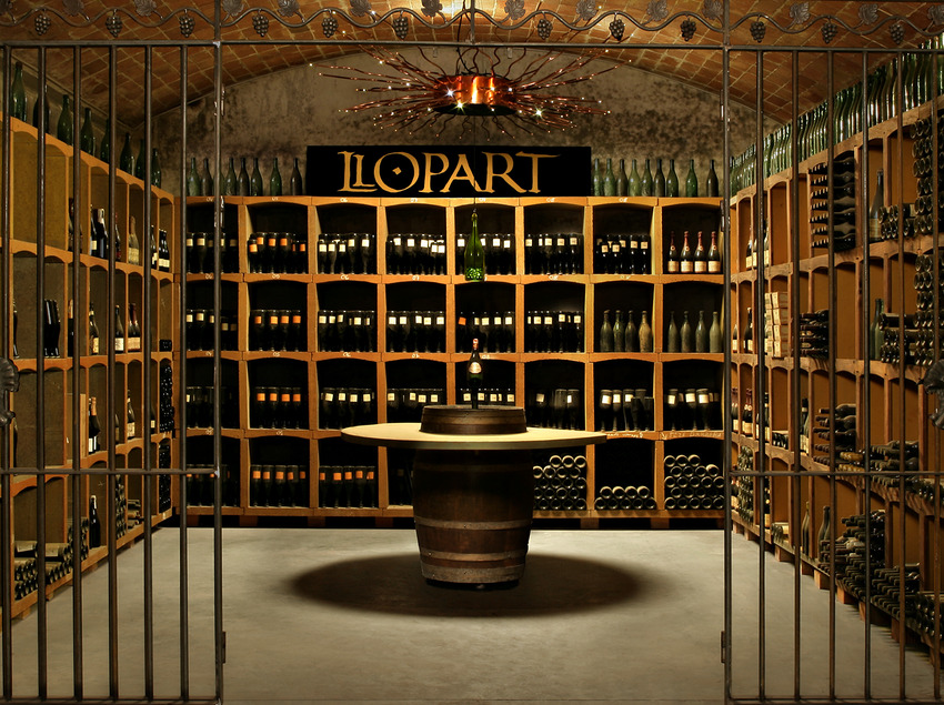 Caves Llopart, racó de la cava amb col·lecció de totes les ampolles de la marca.   (Caves Llopart)