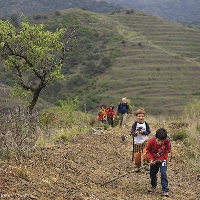 Família fent senderisme al camí vell de Porrera a Poboleda pel collet dels Tossals, camí de ferradura. Xarxa de camins del Priorat.