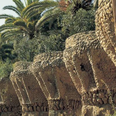 Detall exterior dels soportals en forma de palmeres al Parc Güell.