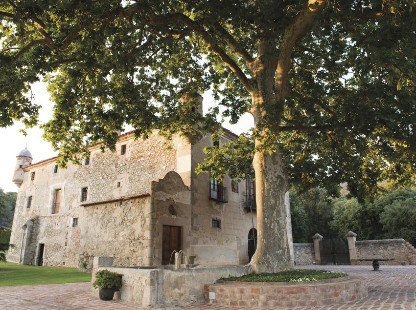 Fachada de Mas Cabanyes con un árbol en primer plano.