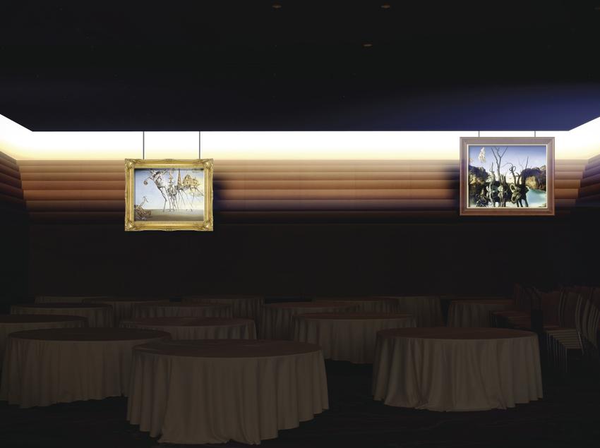 Efectes audiovisuals en un museu.