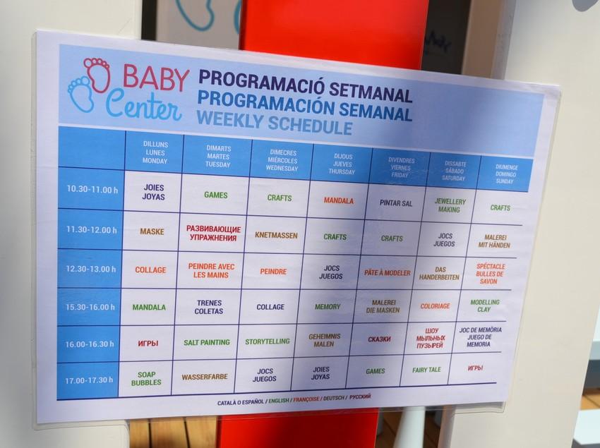 Programació del Baby Center de la platja de Pineda de Mar.