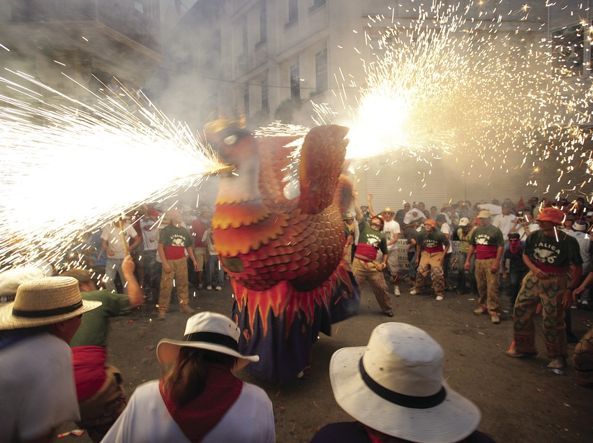 Correfoc (fire run) during the annual festival in Sitges 2
