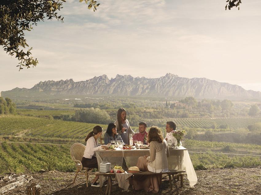 Mesa redonda entre viñedos en el Penedès