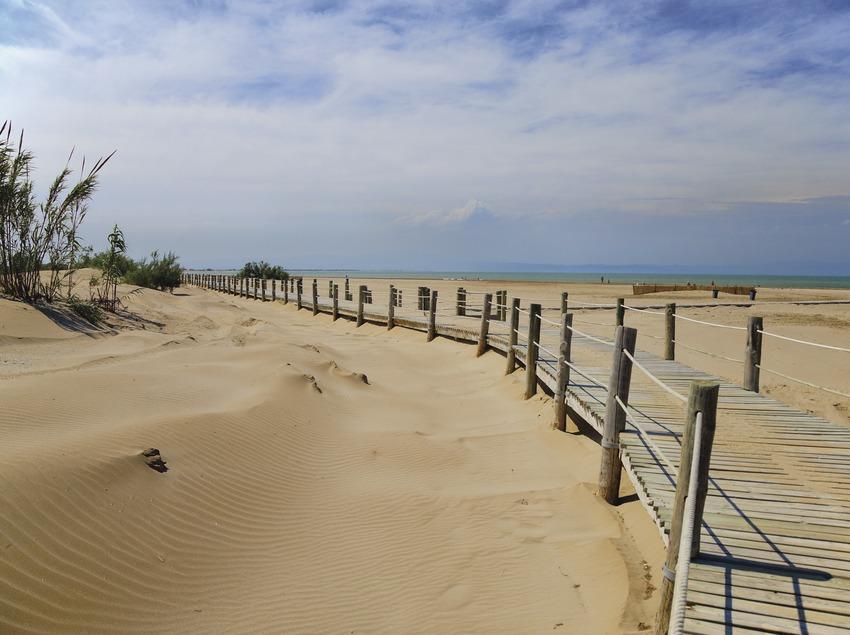 Der Strand Riomar in Deltebre (Delta del Ebro)