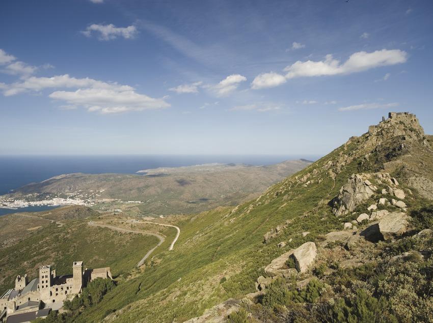Verdera castle and the Sant Pere de Rodes monastery, in Cap de Creus Natural Park