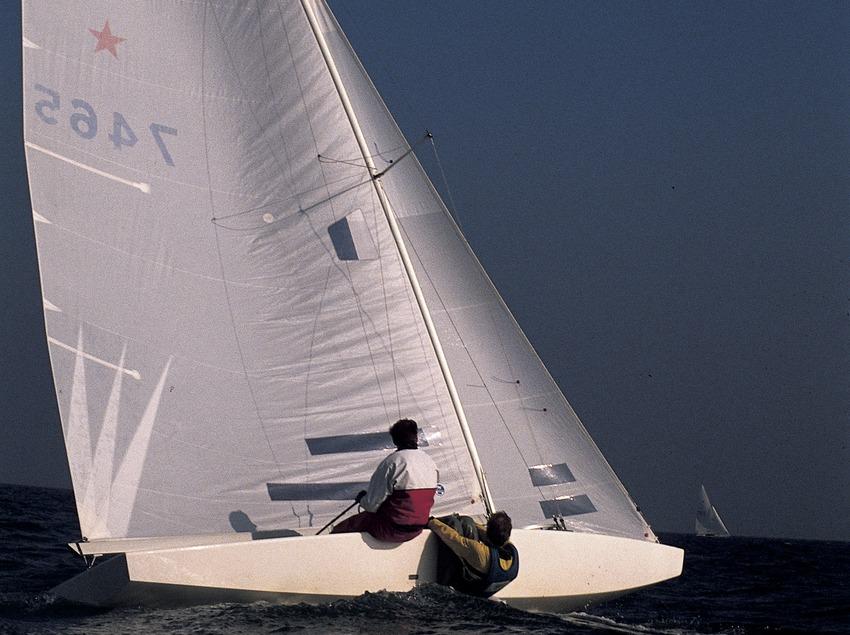 Sailing dinghy (Star class) in a regatta