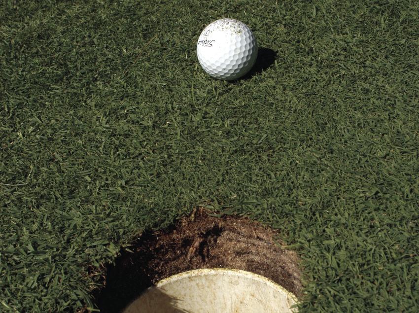 Detall del green amb la pilota a punt d'entrar al forat  (Marc Ripol)