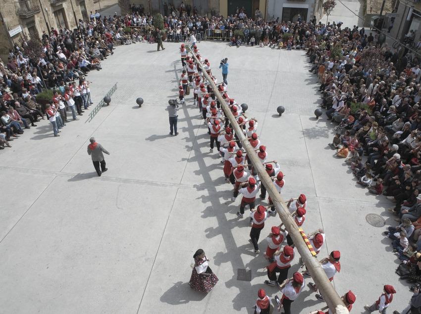 Arribada de l'Arbre de Maig a la plaça  (Oriol Llauradó)