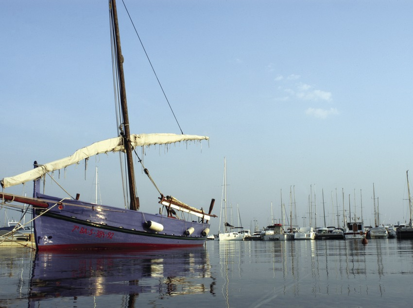 A lateen sailing boat anchored in the port  (Marc Ripol)