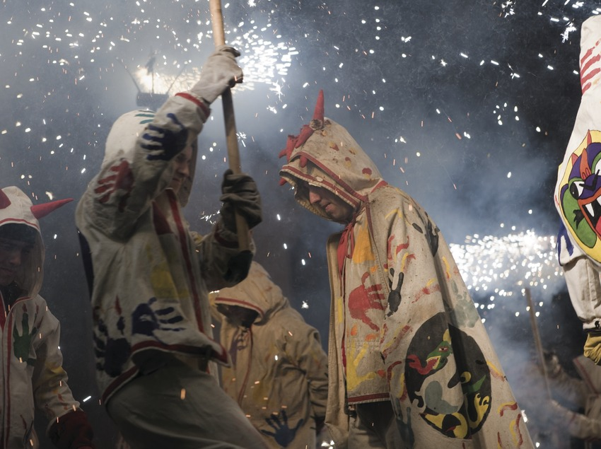 The main festival in Badalona. Devils at a correfoc (fire run)