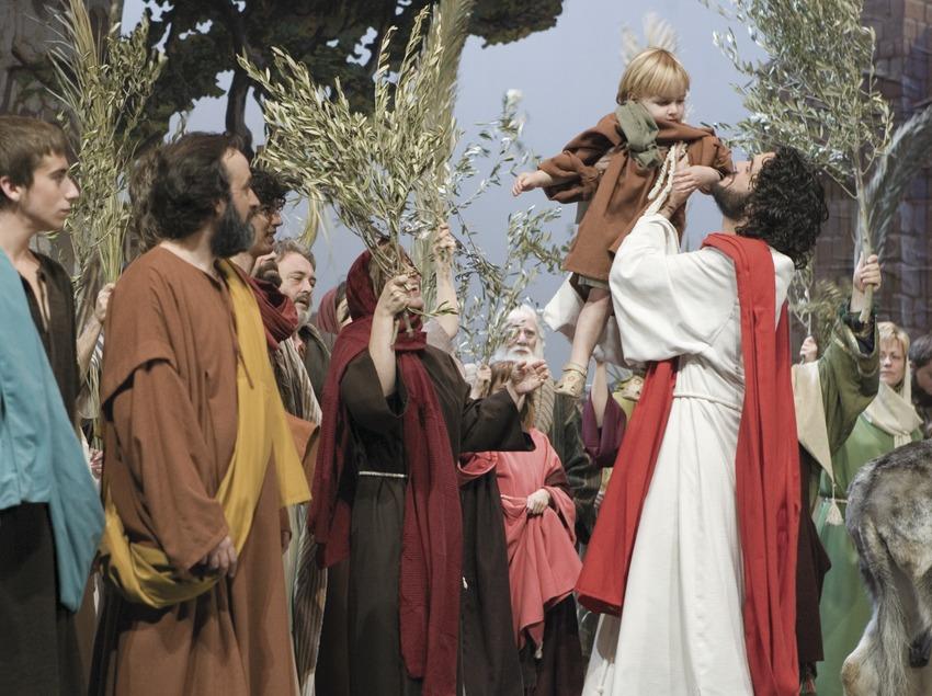 Entrada de Jesús a Jerusalén en la representación de la Pasión.  (Oriol Llauradó)