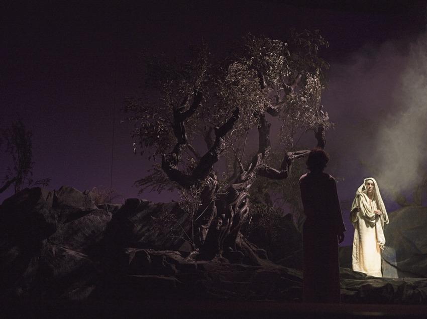 Jesús en el huerto de Getsemaní en la representación teatral de la Pasión  (Oriol Llauradó)