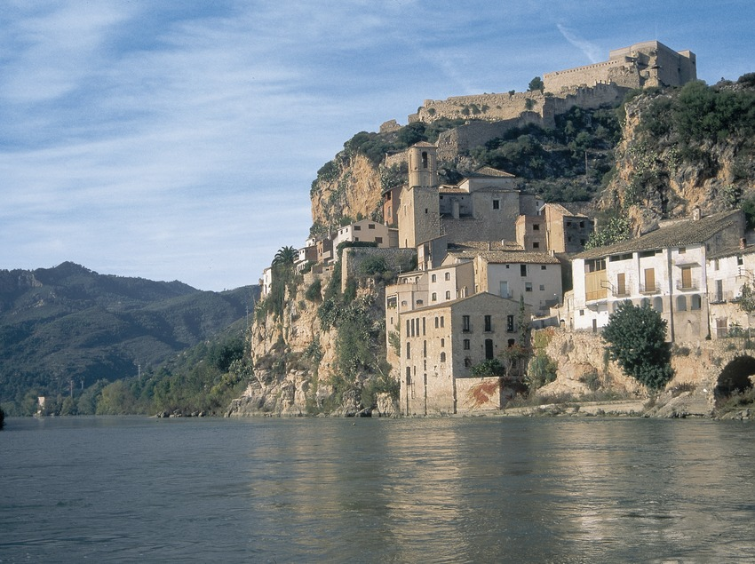 Nucli de la localitat i castell des del riu Ebre  (Servicios Editoriales Georama)