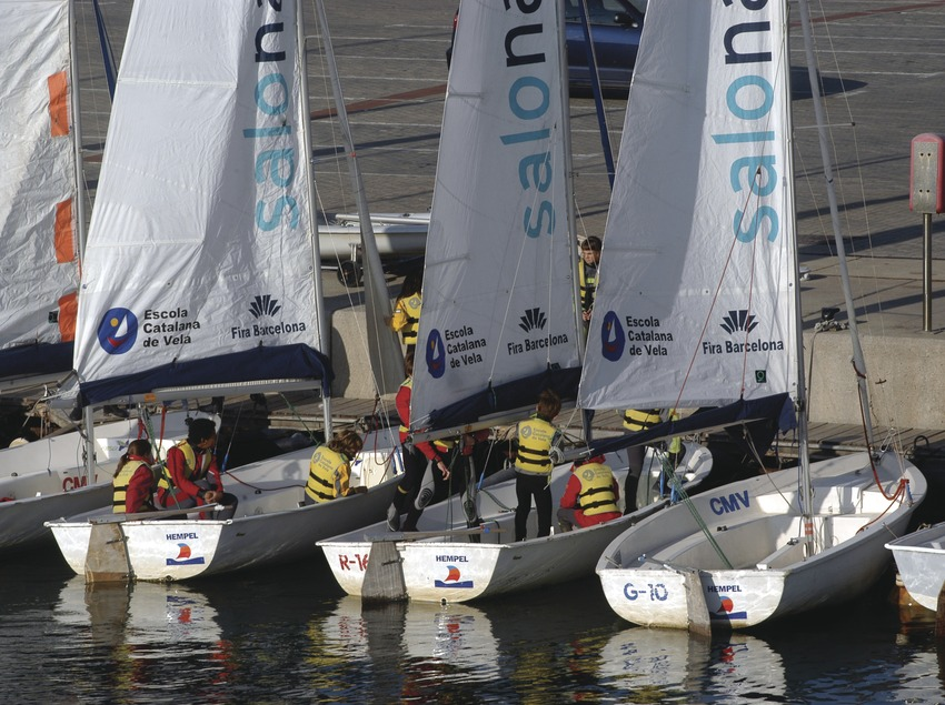 Children at the sailing school in the Olympic Port of Barcelona