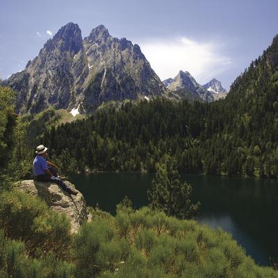 Sant Maurici lake and the Encantats mountain. Aigüestortes i Estany de Sant Maurici National Park.