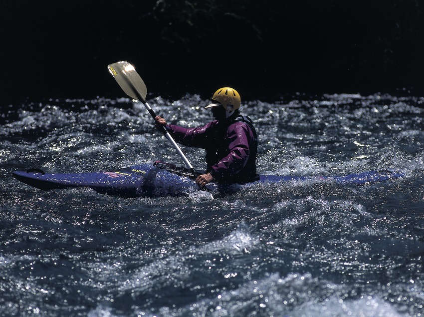 White-water kayaking.