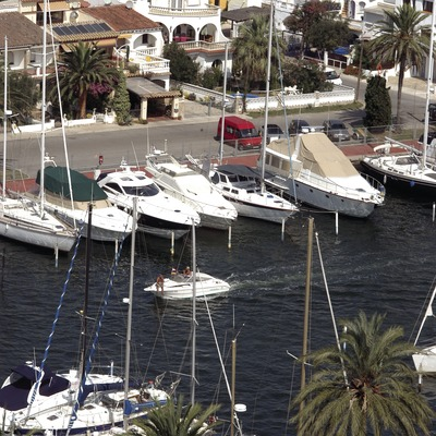 Boats moored in the Empuriabrava Marina