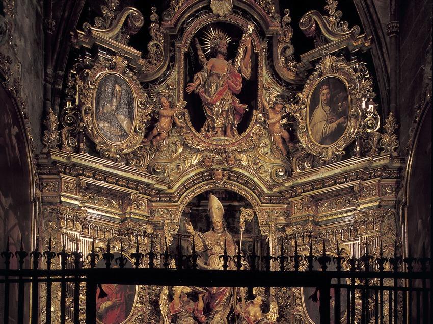 Capilla de Sant Andreu con el Retablo de Sant Narcís (1710). Pau Costa. Catedral de Santa Maria.  (Imagen M.A.S.)