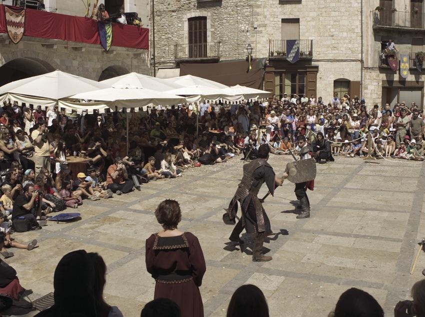 Espectáculo de lucha durante la Feria Medieval (Oriol Llauradó)