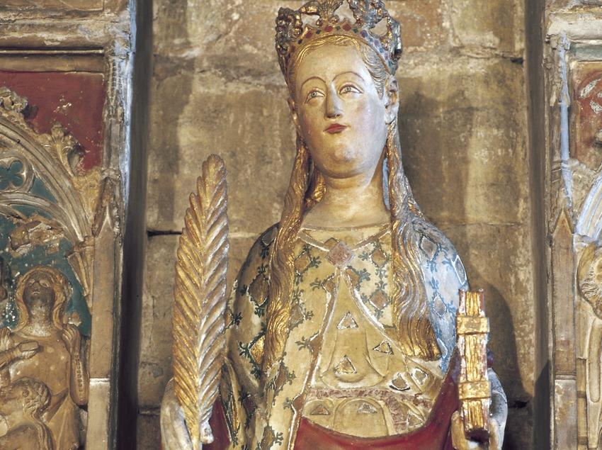 Talla del retablo de Santa Úrsula (siglo XIV). Jaume Cascalls. Iglesia de Sant Llorenç.  (Imagen M.A.S.)