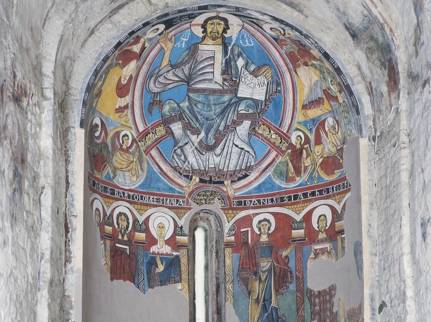 Pinturas murales (siglo XII) del ábside de la iglesia de Sant Climent de Taüll.  (Imagen M.A.S.)