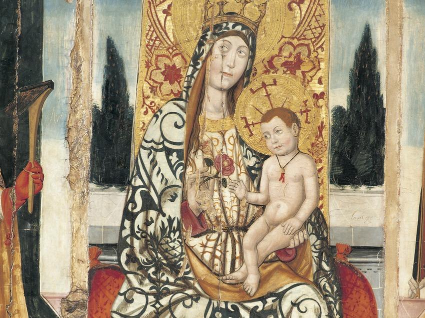 Detalle del retablo de La Virgen, Sant Fabià i Sant Pau (siglo XV). Jaume Ferrer II. Museo Diocesano y Comarcal de Lleida.  (Imagen M.A.S.)