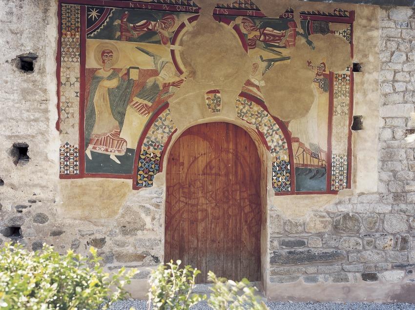 Pintures murals (segle XII) de la portalada de l'església de Sant Joan de Boí.  (Imagen M.A.S.)