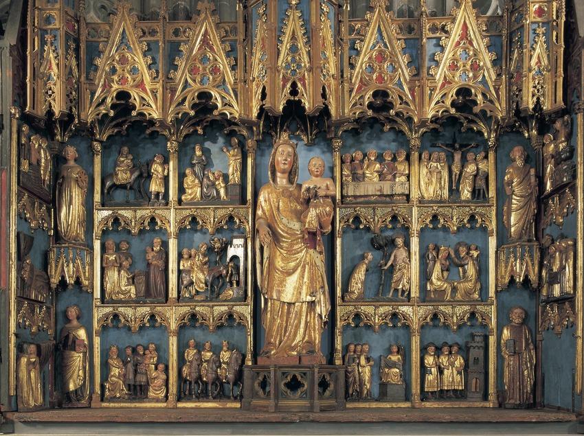 Detalle del retablo mayor de la Virgen (siglo XIV). Catedral de Santa Maria.