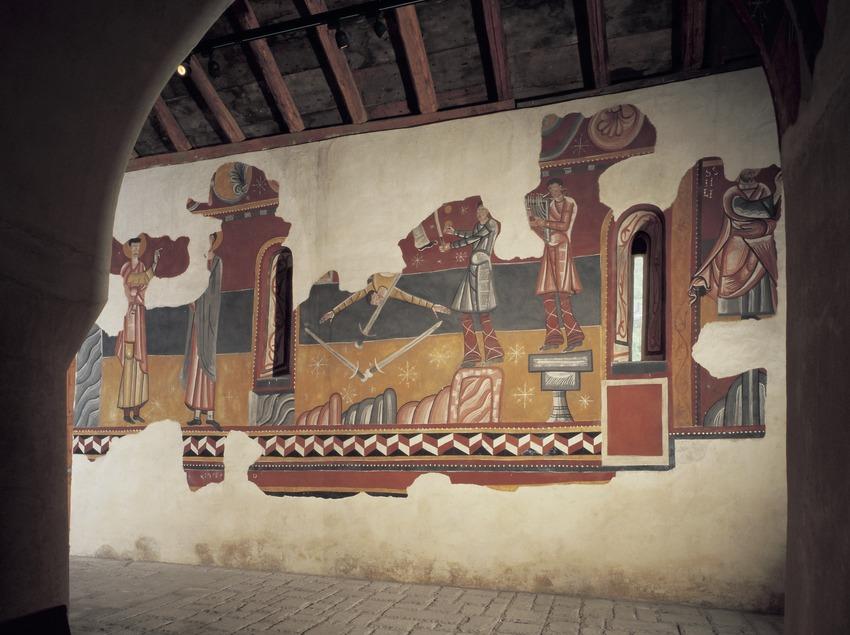 Figures profanes (segle XII) a l'absis lateral de l'església de Sant Joan de Boí.