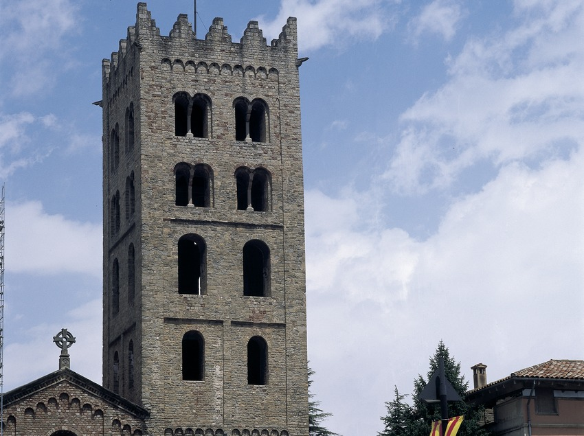 Bell tower of the church of Santa Maria de Ripoll monastery.