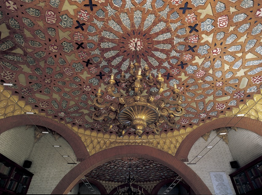 Ceiling of the library in the hospital of Sant Pau by Domènech i Montaner.